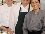 Marcella, David and Luz in the kitchen at Woodruff's