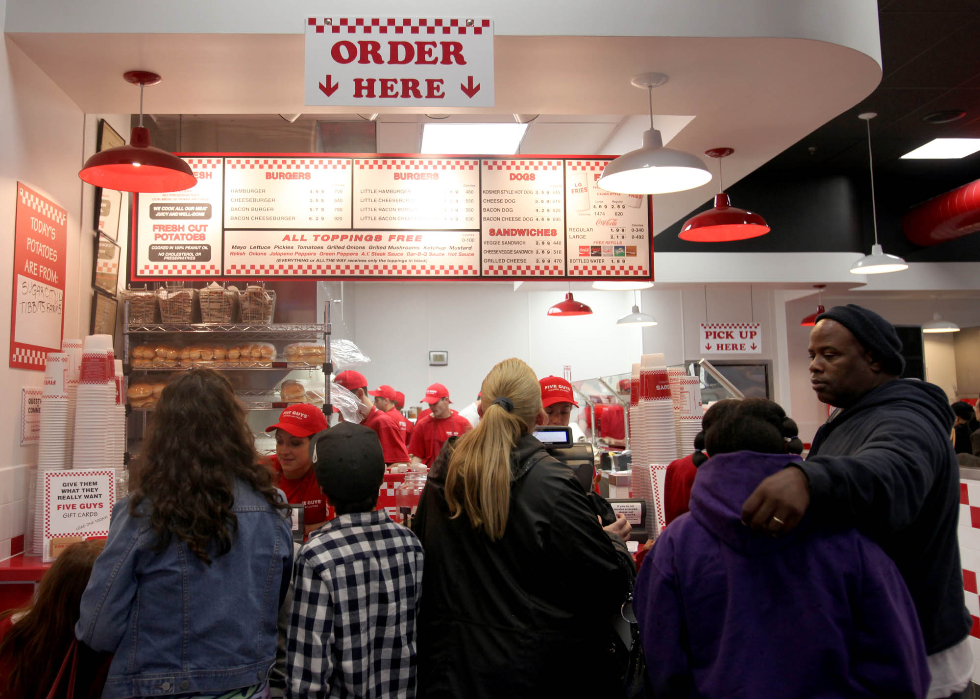 Line to order at the new Five Guys Burger and Fries in Santa Rosa, Feb. 15, 2011 | Crista Jeremiason,