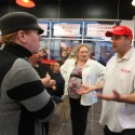 Craig Gallagher, right, co-owner at the new Five Guys Burger and Fries in Santa Rosa, talks to Heather Irwin, left, and the winners she brought to taste test, Feb. 15, 2011Marcus Haizlip, general manager at the new Five Guys Burger and Fries in Santa Rosa takes the order of Jennifer Marinace, Feb. 15, 2011| Crista Jeremiason