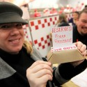 Heather Irwin with Press Democrat reserved sign at the new Five Guys Burger and Fries in Santa Rosa, Feb. 15, 2011 | Crista Jeremiason