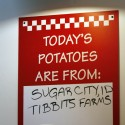 The location the potatoes come from is posted on the board daily at the new Five Guy's Burger and Fries in Santa Rosa, Feb. 15, 2011| Crista Jeremiason