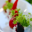 Beet salad with goat cheese and microgreens at The French Garden