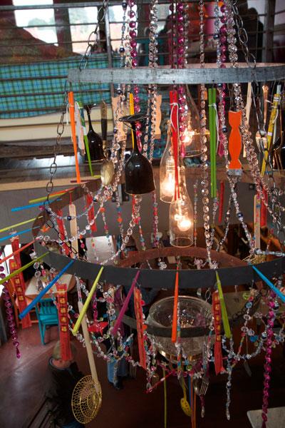 Kitchen equipment chandelier at Forchetta Bastoni