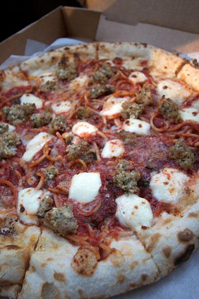 Spaghetti Pizza at Rosso