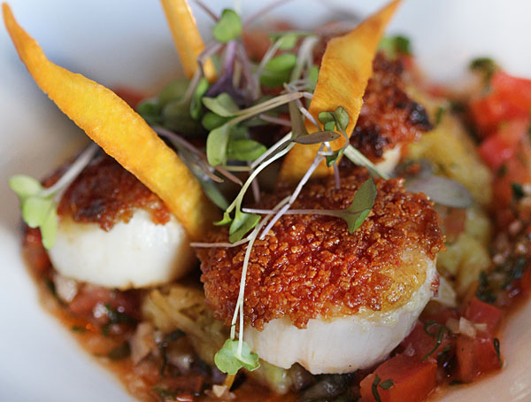 Day boat scallops at Cafe Lucia in Healdsburg ©heather irwin