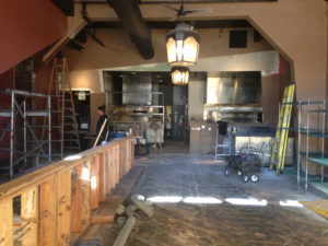 Interior construction at Belly Left Coast Kitchen and Tap Room in Santa Rosa