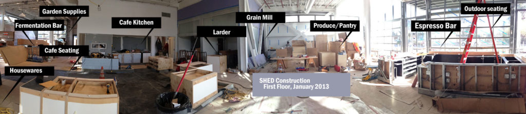 SHED under construction in Healdsburg, January 2013.