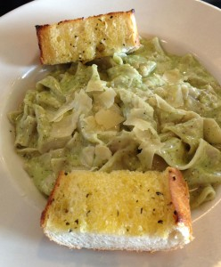 Pappardelle Pasta with Creamy Pesto at Art's Place in Rohnert Park.