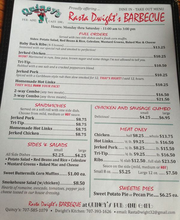 Rasta Dwight's Barbecue Menu
