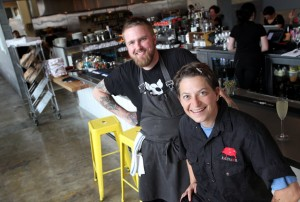 Zazu Kitchen and Farm owner Duskie Estes, right, with chef Doug Richey at the new restaurant location at The Barlow in Sebastopol. (photo by Christopher Chung)