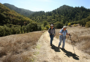 Bill and Janet Tonkin hike along the Hood Mountain Trail in Hood Mountain Regional Park, near Santa Rosa on Tuesday, October 1, 2013. (Christopher Chung/ The Press Democrat)