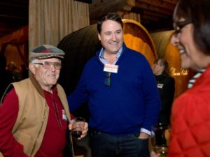 Jean Moulia, left, and Darius Anderson, a principal of Sonoma Media Investments which owns The Press Democrat, during the Sonoma Magazine launch party at Buena Vista Winery, in Santa Rosa, Calif., on November 7, 2013. (Alvin Jornada / The Press Democrat)