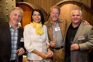 Ray Snyder, left, Tery Parks, Dan Parks, and Bill Blum during the Sonoma Magazine launch party at Buena Vista Winery, in Santa Rosa, Calif., on November 7, 2013. (Alvin Jornada / The Press Democrat)