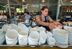 Cups and saucers at The Shed cafe and store (photo by Chris Hardy)
