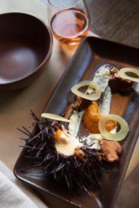 Sea urchin, wild kelp pickles and first flush chanterelles dish at Sir and Star at The Olema in Olema, Calif. (Photo by Charlie Gesell)