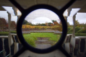 The view to the porch through the glass of the door of the guest cottage at Landmark Vineyard in the Sonoma  Valley.  (photo by John Burgess/The Press Democrat)