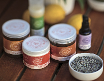 Products from Michele's Apothecary, a farm in Bennett Valley where Michele Steinert mixes up more than 50 products, from calendula petals to lemon verbena, comfrey to catnip. (photo by Chris Hardy