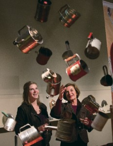 """Memories: The Kathleen Thompson Hill Culinary Collection"" exhibit at the Sonoma Valley Museum of Art includes a display of vintage sifters and other kitchen implements. (photo by John Burgess)"
