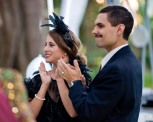Heather and Tim Wilson applaud after dancing to music by Local Honey Swing Band during the National Alliance on Mental Illness (NAMI) Sonoma County Gatsby Gala at the McDonald Mansion, in Santa Rosa, Calif., on September 21, 2013. (Alvin Jornada / The Press Democrat)