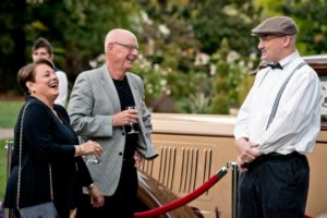 M-L and Bill Reinking, left, laugh with Kevan Jurin during the National Alliance on Mental Illness (NAMI) Sonoma County Gatsby Gala at the McDonald Mansion, in Santa Rosa, Calif., on September 21, 2013. (Alvin Jornada / The Press Democrat)