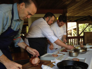 Charlie Palmer and the Dry Creek Kitchen chefs at the Pigs & Pinot preview at Mark Pasternak's Devil's Gulch Ranch.