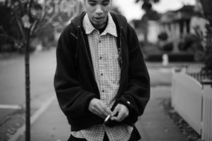 Jeramy Lowther Jr., 19, on his way to the Coffee House Teen Shelter in the Ridgeway neighborhood of Santa Rosa where he plans on getting his first meal of the day. Santa Rosa. November 20, 2013. (Erik Castro/for The Press Democrat)