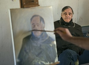 Rodger Warnecke and a portrait being painted of him by artist in residence Frank Ryan at Chalk Hill studio. (photo by Chris Hardy)