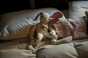 Old stuffed animal on a bed in Windsor house. (photo by Chris Hardy)