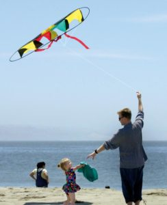 Flying a kite at Dillon Beach. (photo by Chris Chung)
