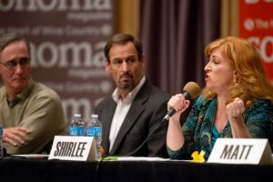 """Sonoma County Third District Supervisor Shirlee Zane, right, speaks passionately about how her religious beliefs compel her to aid the homeless during """"Lost in Paradise: A Forum on Homelessness in Sonoma County."""" (Alvin Jornada / The Press Democrat)"""