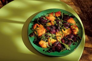 Beets roasted and smashed with balsamic vinegar and arugala. (photo by Chris Hardy)