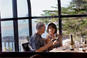 A couple dine at the River's End Restaurant and Inn. (photo by Charlie Gesell)