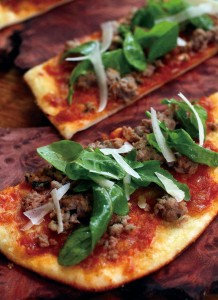 Sausage flatbread at Forestville's Backyard restaurant. (Jeff Kan Lee/ The Press Democrat)