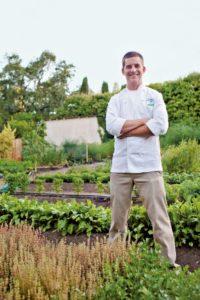 Chef Jesse Mallgren in the Madrona Manor culinary garden in Healdsburg in 2013. (Jeni + Dylan Photography.)