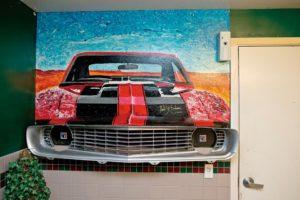 An art installation inside the men's restroom of Oliver's Market on Montecito Blvd. in Santa Rosa. (photo by Alvin Jornada)