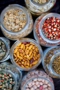 A variety of beans, corn and seeds stored at the West County Community Seed Exchange seed library in Sebastopol.