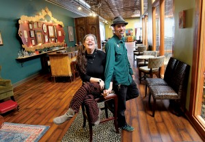 Owner operators DeAnna Batdorff, left, and Scott Jenkins in the Apothecary Bar in the new Dhyana Center in Sebastopol. (photo by John Burgess)