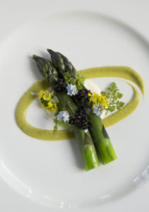 Dashi-Poached Asparagus with Lemon Mousseline and Osetra Caviar and Rabbit Rabbit Rabbit at Farmhouse Inn.