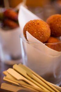 At Bravas Bar de Tapas, guests tasted dishes such as this creamy chicken, ham & Gruyere cheese croquetas.