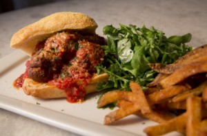 Meatball Sandwich with Organic French Fries at Catelli's and True Italian-Style Lasagna with Tomato Sauce.