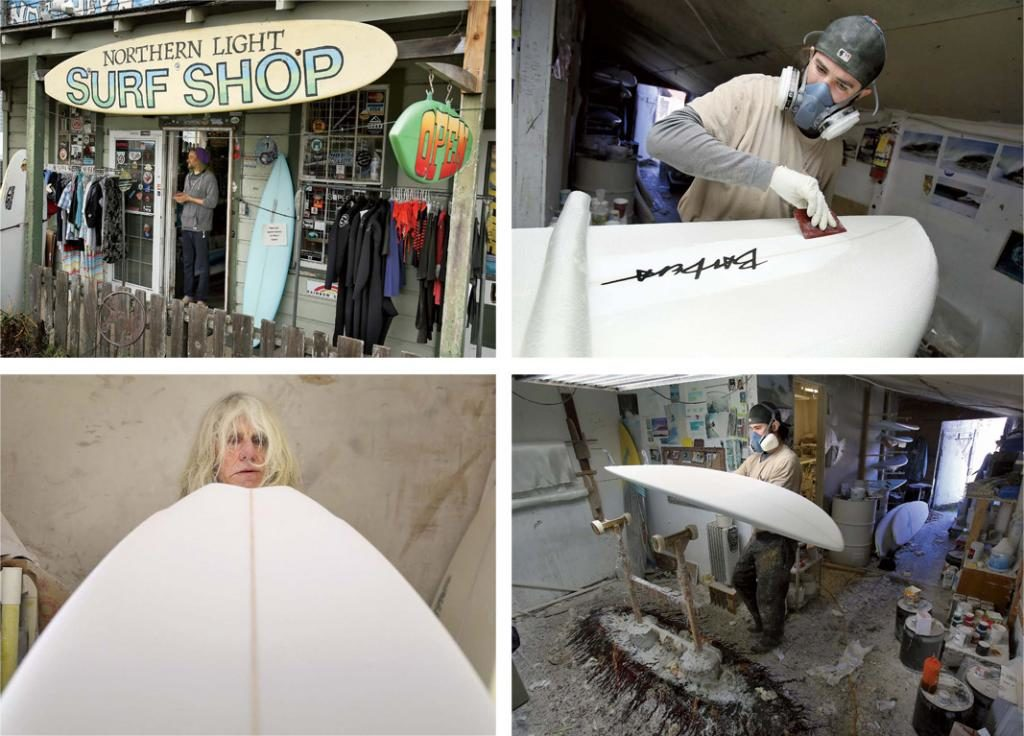 "(clockwise from top left) The entry to Northern Light Surf Shop in Bodega; Patrick Corrigan begins to ""glass"" a surfboard, applying a layer of fiberglass; the workshop where boards are made and repaired is in a small barn behind the surf shop; surfboard builder Ed Barbera, one of only a few people who shape boards by hand, eyes his handiwork in progress at Northern Light."