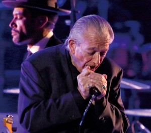 "Ben Harper (rear) and Charlie Musselwhite perform a song from ""Get Up!"" at the Grammys in January. The album brought Musselwhite his first Grammy award, for best blues album, after eight prior nominations."
