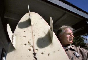 In 2005, a 14-foot great white shark attacked surfer Megan Halavais at Salmon Creek Beach, wounding her right leg and leaving tooth marks in her surfboard, shown by state park Ranger Bill Walton. Halavais is still surfing the North Coast today.