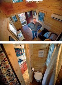 Tumbleweed Tiny House president Steve Weissmann in a 131-square-foot Tumbleweed in Sonoma that is available as a vacation rental (top), and the rental's bathroom and kitchen (bottom).
