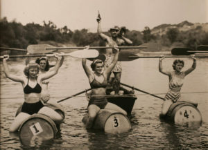 Ladies, start your barrels, and may the best paddler win at the 1947 Healdsburg Harvest Festival at Veterans Memorial Beach. (Courtesy Sonoma County Wine Library)
