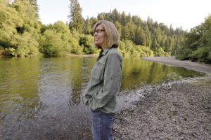 Laura Wilson, niece of Clare Harris, at Johnson's Beach in Guerneville.
