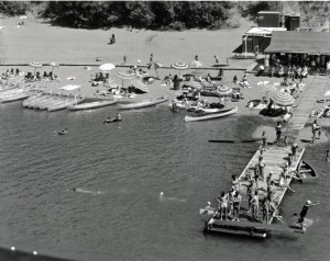 A 1948 photo shows the dock and beach at Rio Nido Beach. (Courtesy Sonoma County Library)