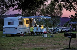 Laura Waterhouse and her glamping pals gather at sundown at the Cloverdale KOA.