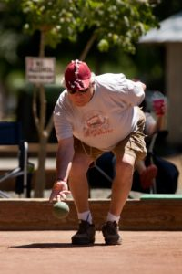 Ronald Misasi throws during a match at Bocce for a Cure, a bocce tournament benefiting the American Diabetes Association at Julliard Park in Santa Rosa. (Alvin Jornada / For The Press Democrat)