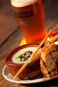Beer and cheese soup with Hopmonk Tavern Ale.